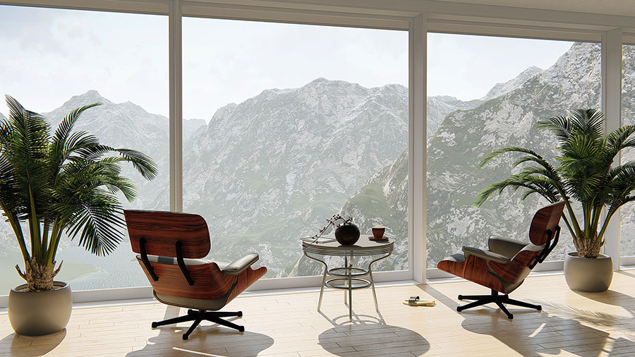 large windows with a view