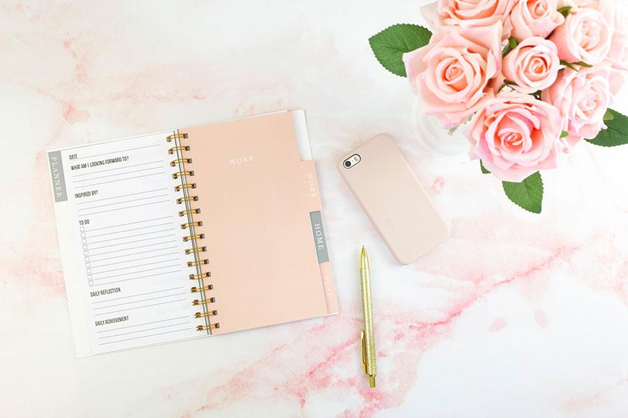 pink schedule notebook