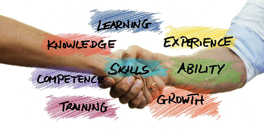 shaking hands with experience, training, skills
